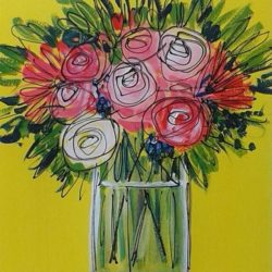 Vase of flowers yellow background