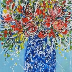 summer flowers in a blue vase mixed media painting by jan rippingham