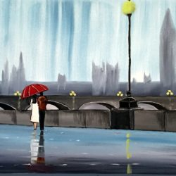 rainy london original painting