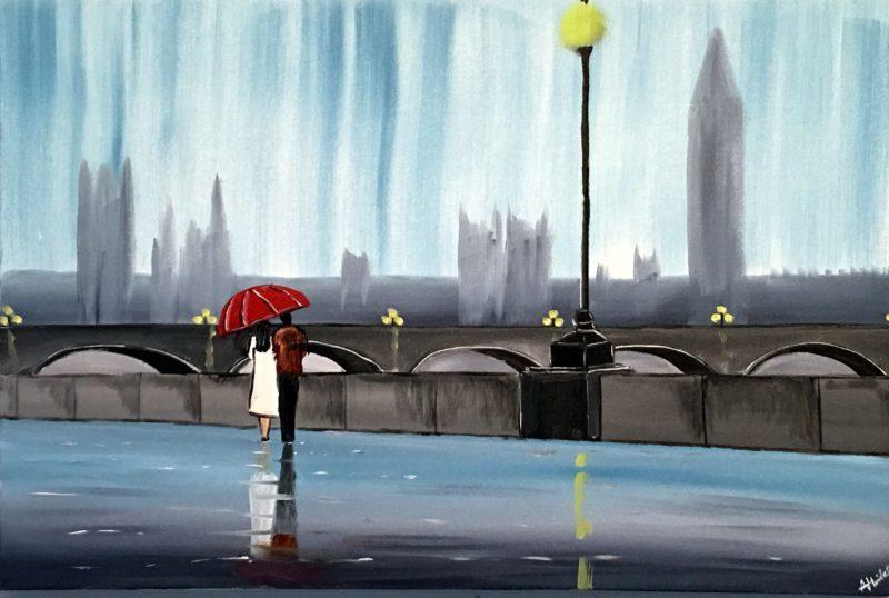 rainy london original painting