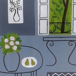 Grey interior painting in the style of Matisse