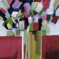 cubist style painting of tulips in vase