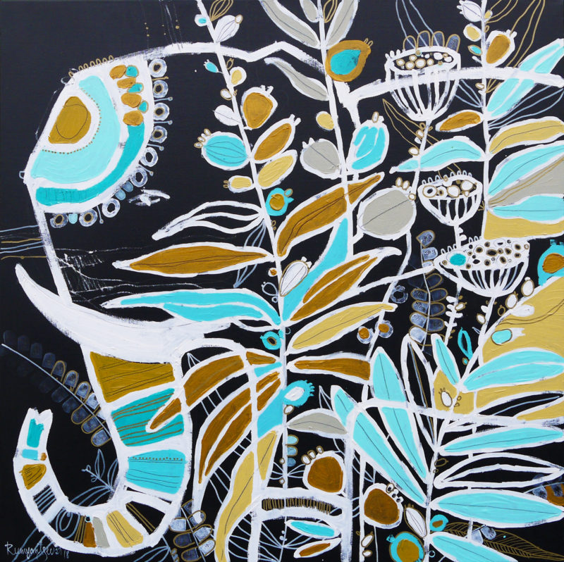 contemporary elephant painting in turquoise and gold