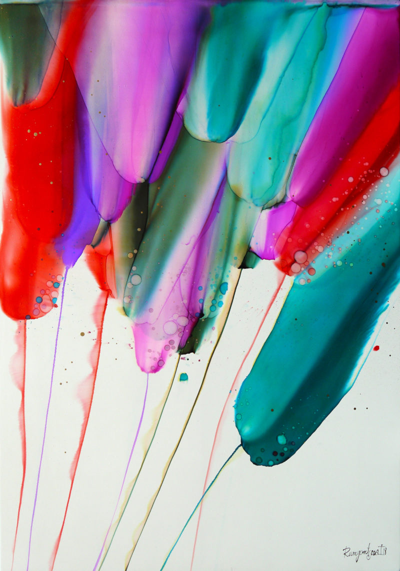 LARGE COLOURFUL ABSTRACT PAINTING BY IRINA RUMYANTSEVA