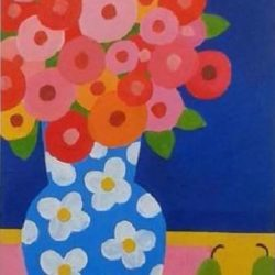 Spring flowers in a blue vase naive style affordable painting