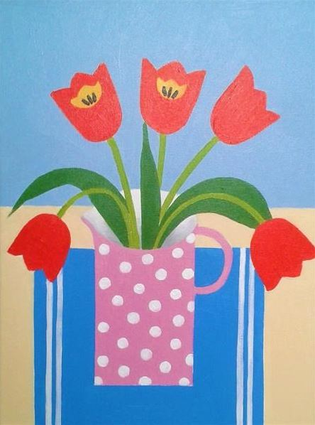 red tulips in a jug naive style