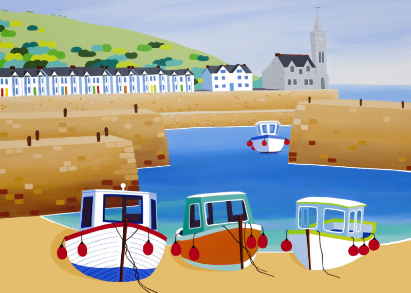 porthleven harbour print by shirley netherton