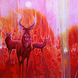 Red Magic - A Red painting with red deer at dawn by gill bustamante