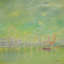 fog over the river thames painting