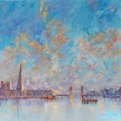 painting of the shard and river thames in london
