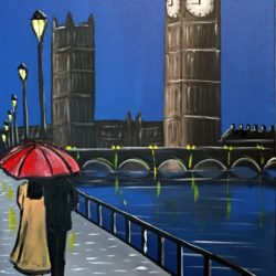 london walk at night painting