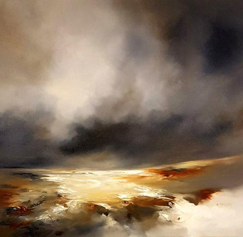 winter glow original painting by artist alison johnson