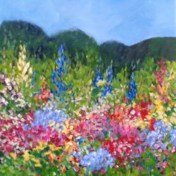 cottage garden painting in an Impressionistic style by Jan Rippingham