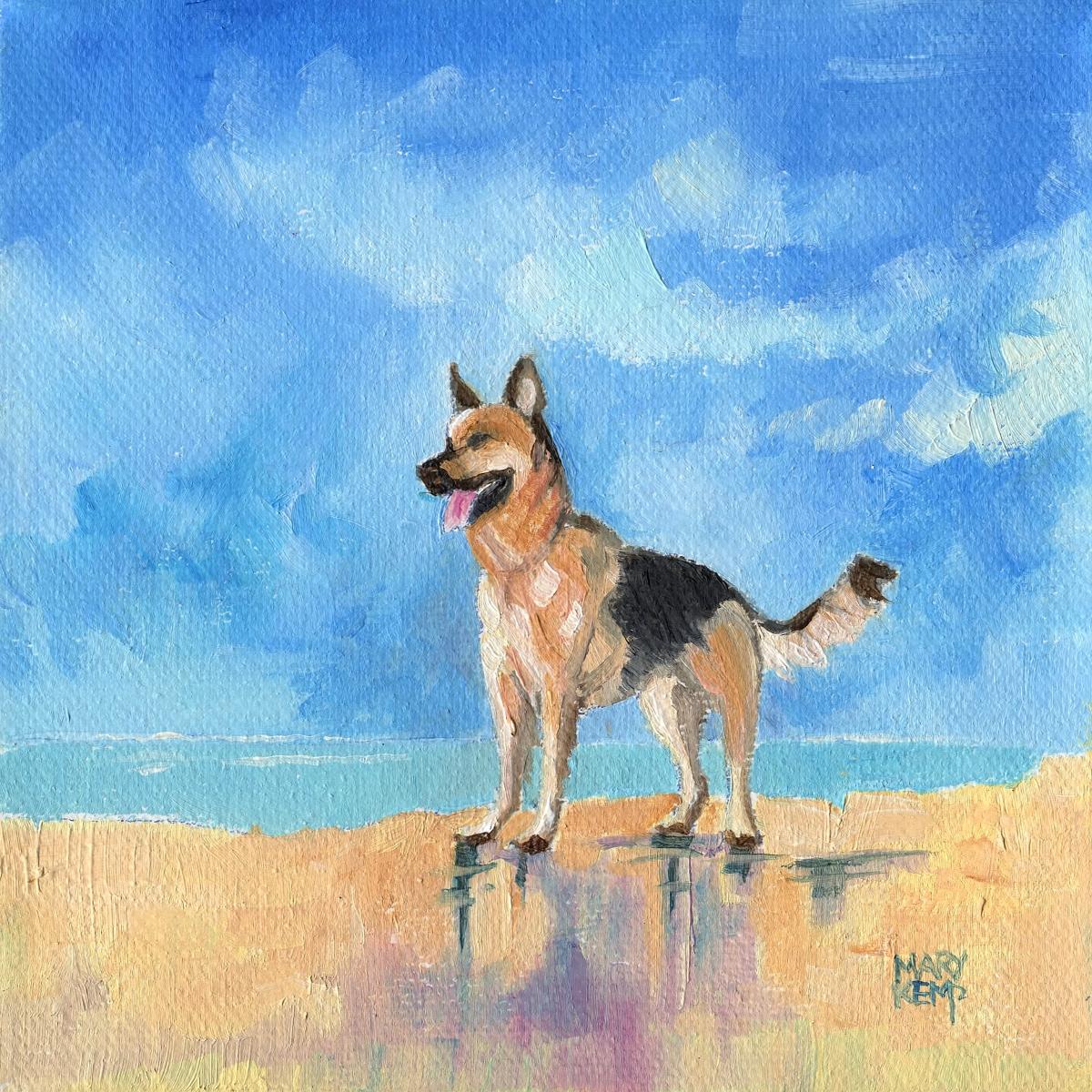 Small Painting German Shepherd Dog