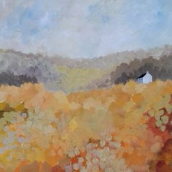 autumnal landscape painting with cottage