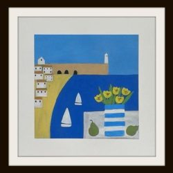 St Ives painting by Jan Rippingham. Naive style