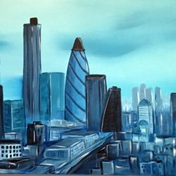 london skyline painting by aisha haider