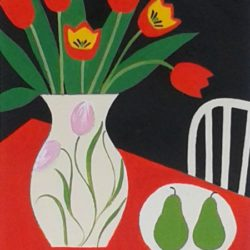 naive still life painting in red