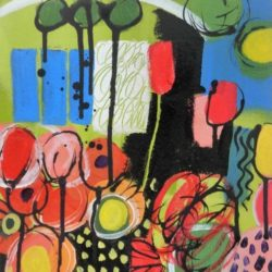 The park by artist Jan Rippigham acrylic abstract painting