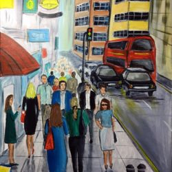 fleet street cityscape painting by aisha haider
