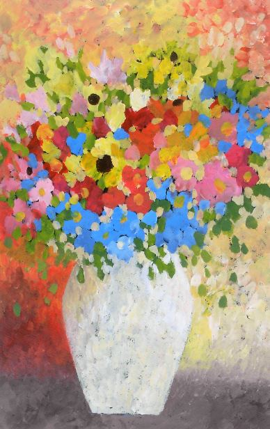 pointillist painting of flowers in a vase
