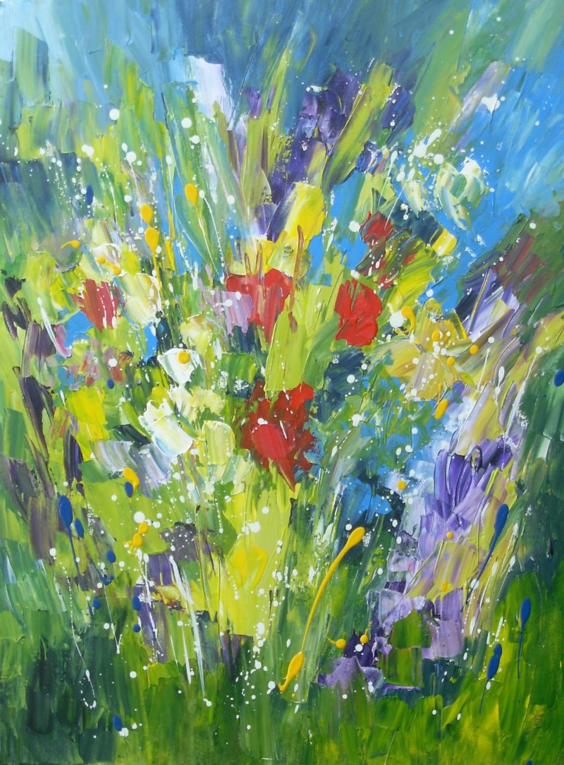 abstract floral acrylic painting on canvas by jan rippingham