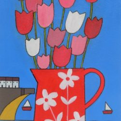 harbour boats still life tulips in a red vase