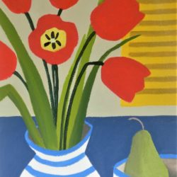 tulips and yellow shutters. Naive style affordable art by jan rippingham