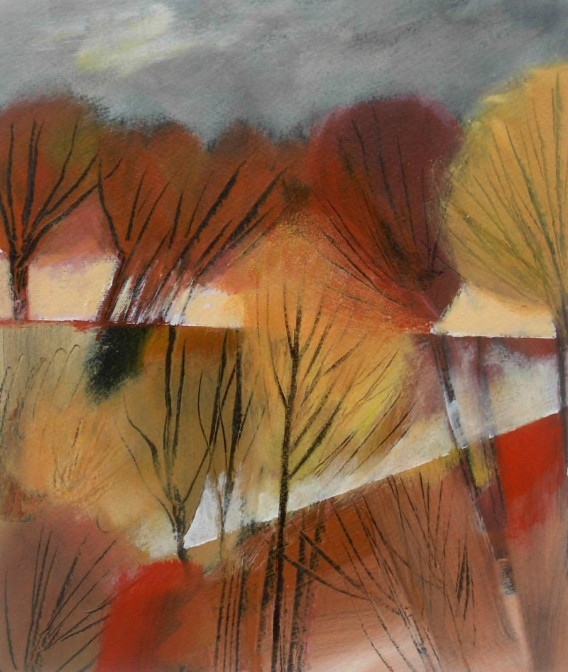 Autumn trees by Jan Rippingham autumnal colours in acrylics