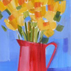 Daffodils in a red jug original affordable artwork by Jan Rippingham