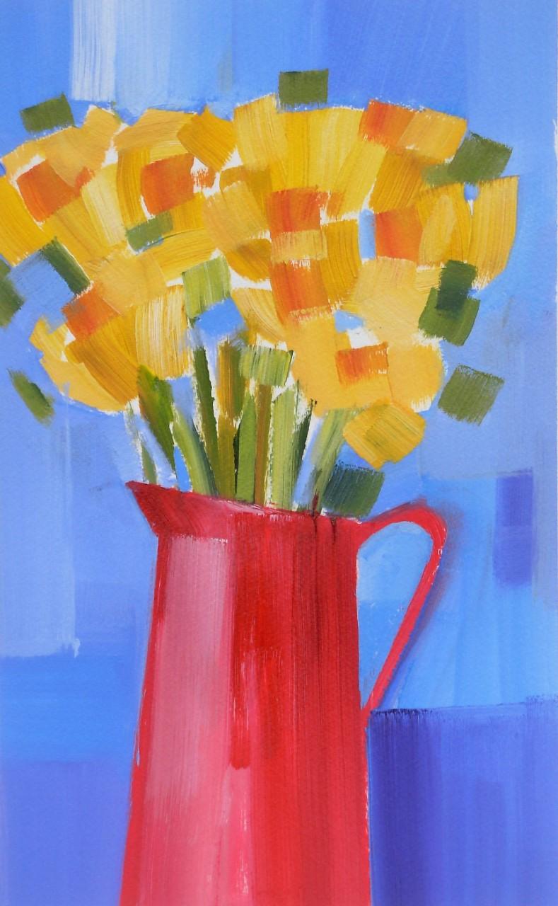 Daffodils in a red jug original affordable artwork by Jan Rippingham