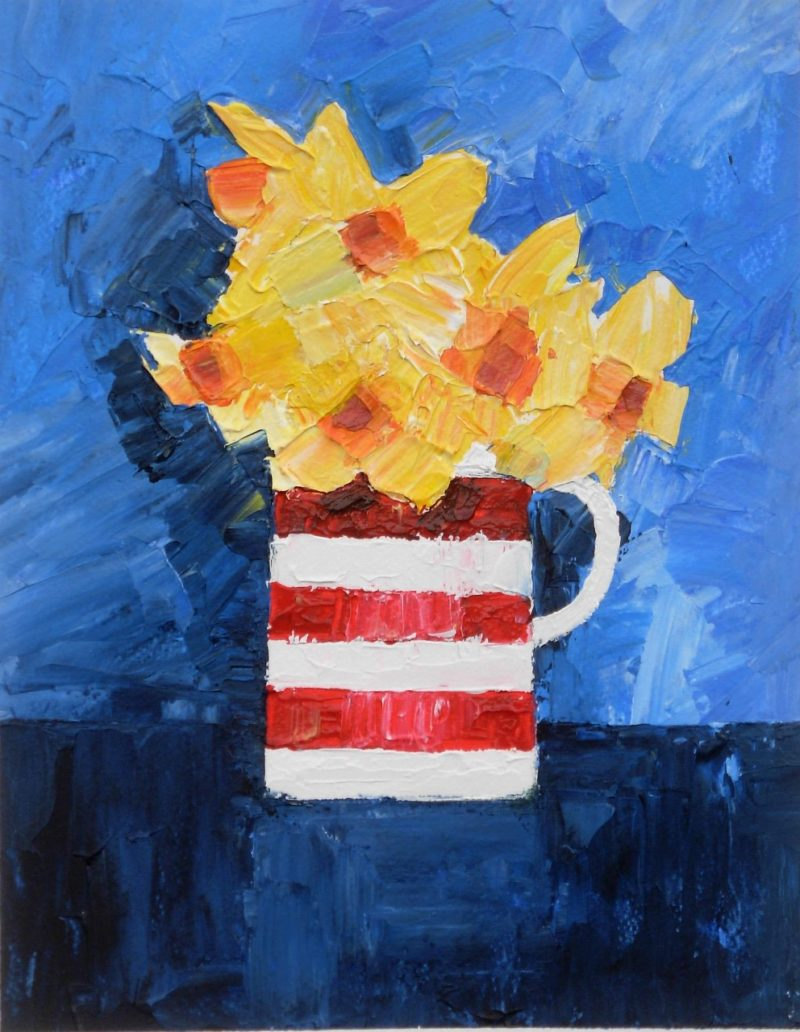 Daffodils in a striped jug very textured original painting