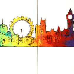 london skyline painting colourful