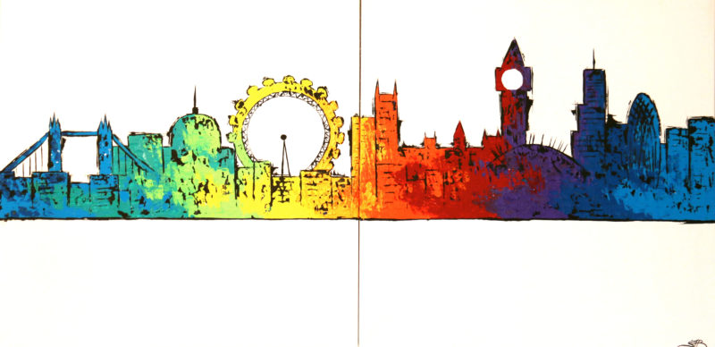 london skyline painting colourful