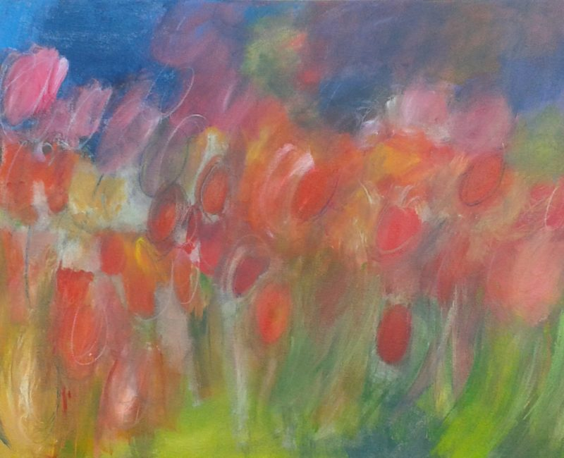 Tulips painting on canvas ready to hang