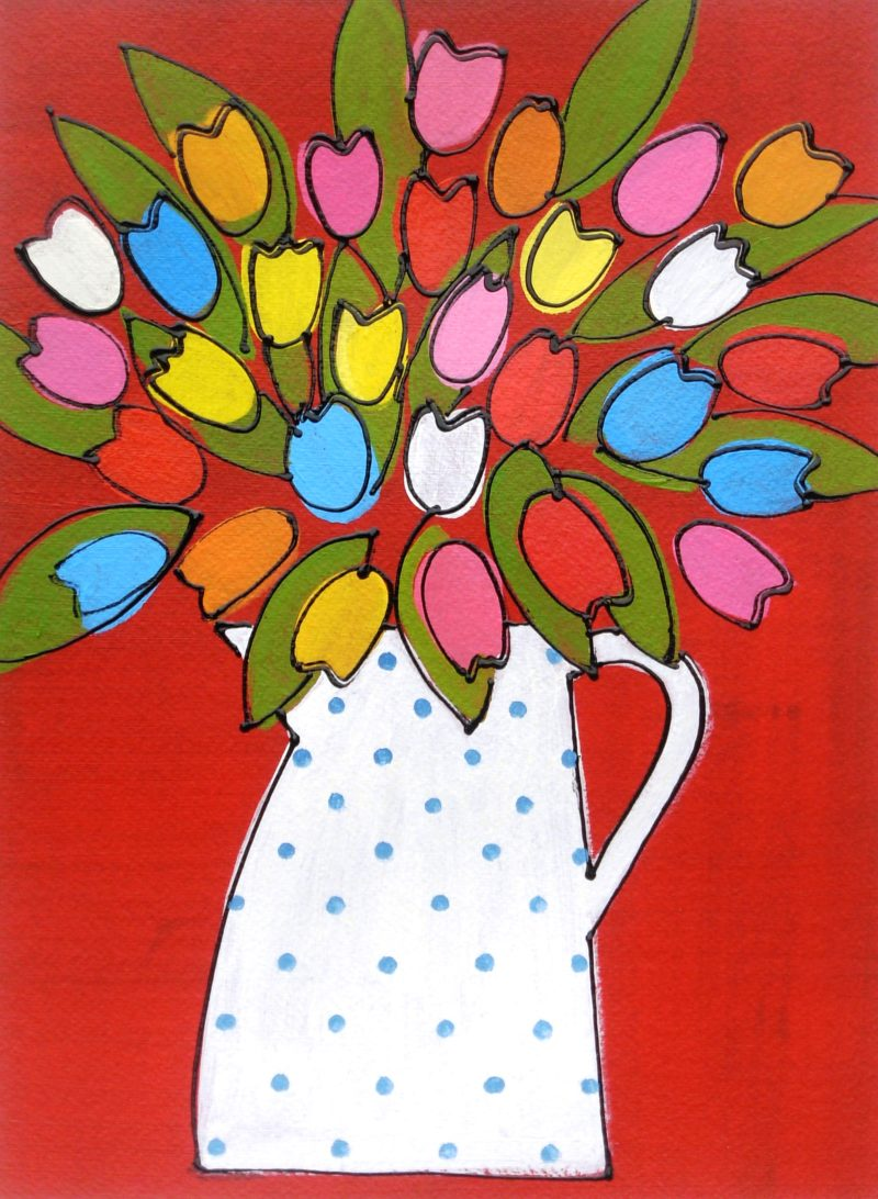 tulips in a polka dot jug affordable painting on Bockingford paper Naive style tulips