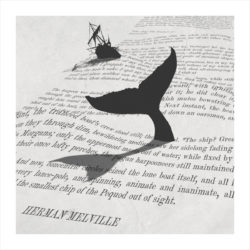literary art print inspired by moby dick