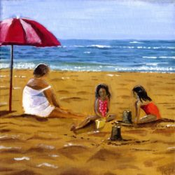 children at the beach painting