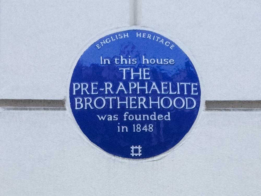 pre-raphaelite blue plaque