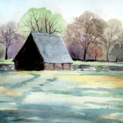 watercolour painting of hyde park