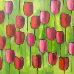 Large tulip painting by Jan Rippingham