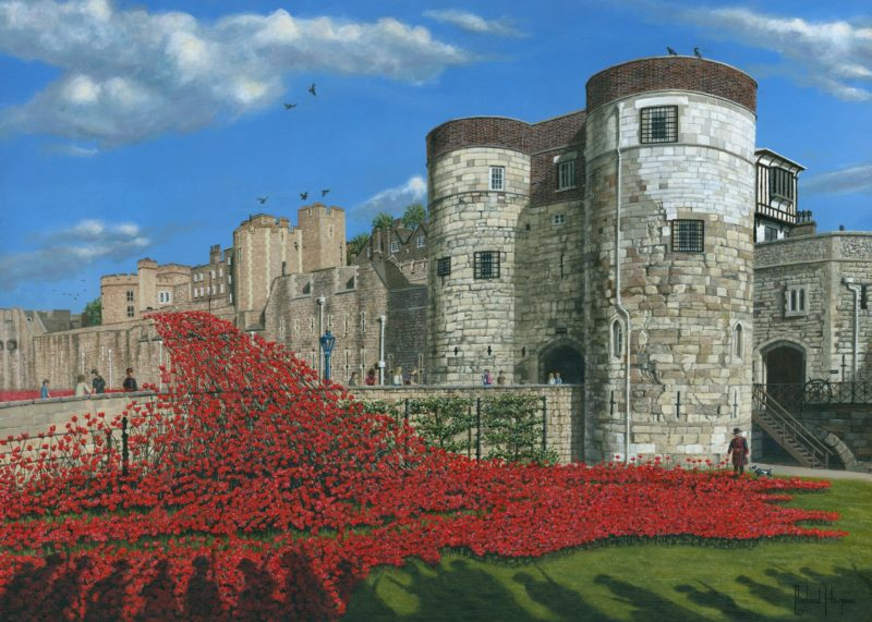 tower of london with poppies print