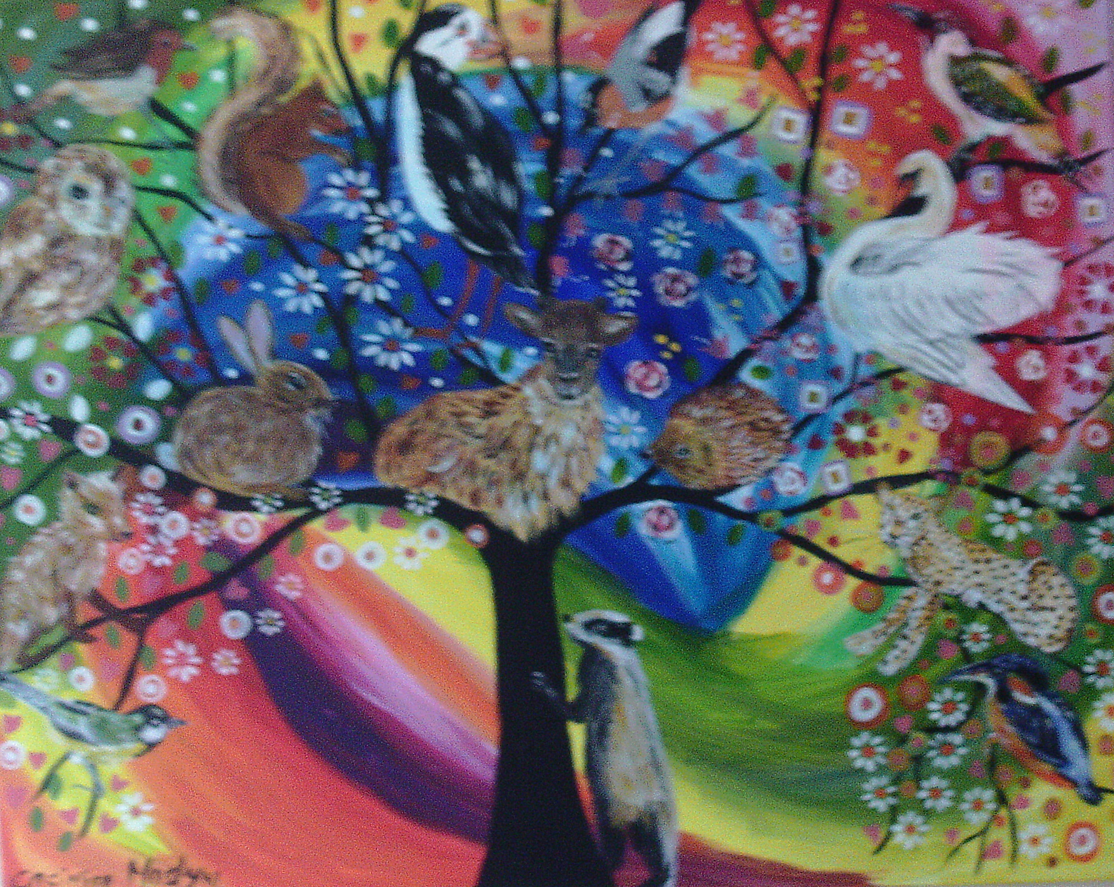 The Tree Of Life In The Colourful Rainbow Sky Art