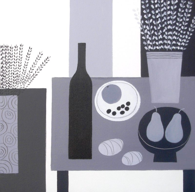 still life painting monochrome acrylics on canvas