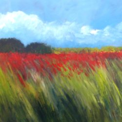 Semi abstract painting of field of red poppies