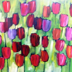 Red, pink, purple and orange tulips