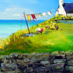 kilbride croft landscape painting with sea