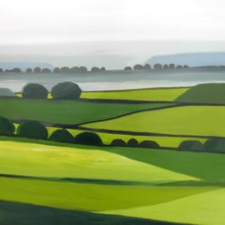 Surrey hills landscape painting with rolling hills