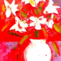 Abstract white lillies on red background