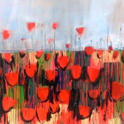 Vibrant red poppies mixed media artwork